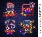 big set neon logo  label ... | Shutterstock .eps vector #740859319