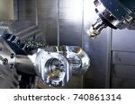 the cnc lathe machine or... | Shutterstock . vector #740861314