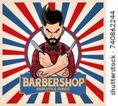 barber shop hipster | Shutterstock .eps vector #740862244