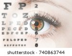 close up image of human eye... | Shutterstock . vector #740863744