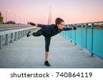 sporty girl doing balance...   Shutterstock . vector #740864119
