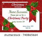 christmas invitation with holly ... | Shutterstock .eps vector #740865664