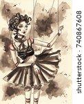 doll puppet. ink illustration... | Shutterstock . vector #740867608