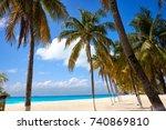 isla mujeres island caribbean... | Shutterstock . vector #740869810