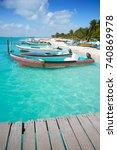 isla mujeres island caribbean... | Shutterstock . vector #740869978