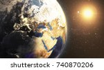 earth space view night at... | Shutterstock . vector #740870206