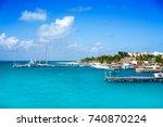 isla mujeres island near cancun ... | Shutterstock . vector #740870224