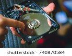 repairing hard drive hdd ...   Shutterstock . vector #740870584