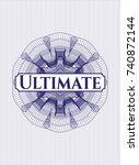 blue money style rosette with... | Shutterstock .eps vector #740872144