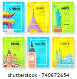 Travel information cards set. Landscape template of flyear, magazines, posters, book cover, banners. Layout city pages. Vector package greeting card or invitation design background | Shutterstock vector #740872654