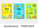 travel information cards.... | Shutterstock .eps vector #740872693