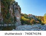 river ardeche near the old... | Shutterstock . vector #740874196