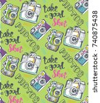 hand drawn doodle pattern with... | Shutterstock .eps vector #740875438