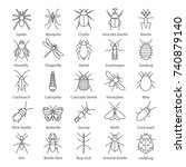 insects linear icons set. bugs. ... | Shutterstock .eps vector #740879140