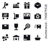 16 vector icon set   courier ... | Shutterstock .eps vector #740879518