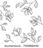 hand drawn line floral frame.... | Shutterstock .eps vector #740888440