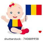 smiling baby toddler  girl... | Shutterstock .eps vector #740889958