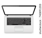 top view of laptop computer...   Shutterstock . vector #740891203