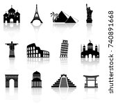world famous buildings abstract ... | Shutterstock . vector #740891668