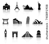 world sights icons. world... | Shutterstock . vector #740891908