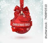christmas sale  decoration with ... | Shutterstock .eps vector #740893510