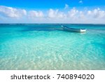 caribbean tropical beach... | Shutterstock . vector #740894020