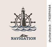 icon of yacht helm wheel and... | Shutterstock .eps vector #740894464