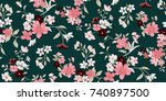 seamless floral pattern in... | Shutterstock .eps vector #740897500