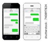 smartphone black and white....   Shutterstock . vector #740897824