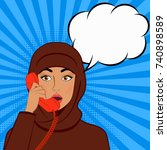 surprised girl in hijab with... | Shutterstock .eps vector #740898589