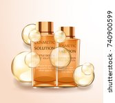cosmetic bottles with oil... | Shutterstock .eps vector #740900599