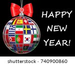christmas ball with flags of... | Shutterstock .eps vector #740900860