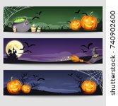 vector halloween web banners... | Shutterstock .eps vector #740902600