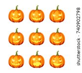 vector set of nine jack o'... | Shutterstock .eps vector #740902798