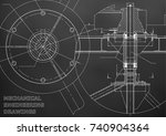 mechanical engineering drawing. ... | Shutterstock .eps vector #740904364