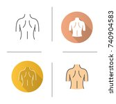 woman's back icon. flat design  ... | Shutterstock .eps vector #740904583