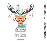 christmas and new year card... | Shutterstock .eps vector #740904688