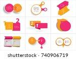 mega set of two elements banner.... | Shutterstock .eps vector #740906719