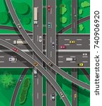 modern roads and transport. top ... | Shutterstock . vector #740906920