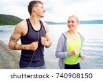 couple working out | Shutterstock . vector #740908150