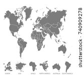 world map. europe asia america... | Shutterstock .eps vector #740909278