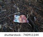 ten euros banknote lying on the ... | Shutterstock . vector #740911144