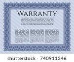 blue warranty. printer friendly.... | Shutterstock .eps vector #740911246