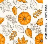 autumn seamless pattern. hand... | Shutterstock .eps vector #740915056