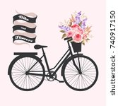 bicycle with roses | Shutterstock .eps vector #740917150