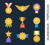 win medals set. cool flat award ... | Shutterstock .eps vector #740921116