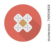 plaster icon or button in flat... | Shutterstock .eps vector #740924818