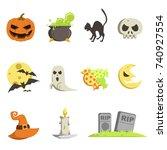 set of icons for halloween | Shutterstock .eps vector #740927554