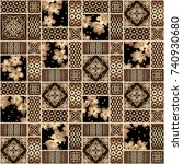 gorgeous seamless patchwork... | Shutterstock .eps vector #740930680