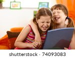 cute girl friends laughing at... | Shutterstock . vector #74093083